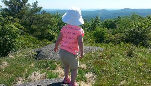 A small child stands on a rock looking out to trees and mountains in the distance