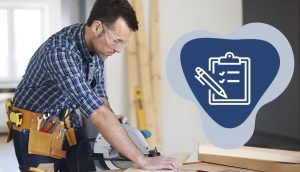 """A man wearing goggles holds a power-saw at a construction site, with the """"Work"""" icon"""