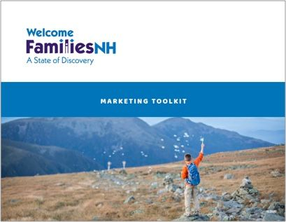 Welcome Families NH Marketing Toolkit cover for PDF download with asset information